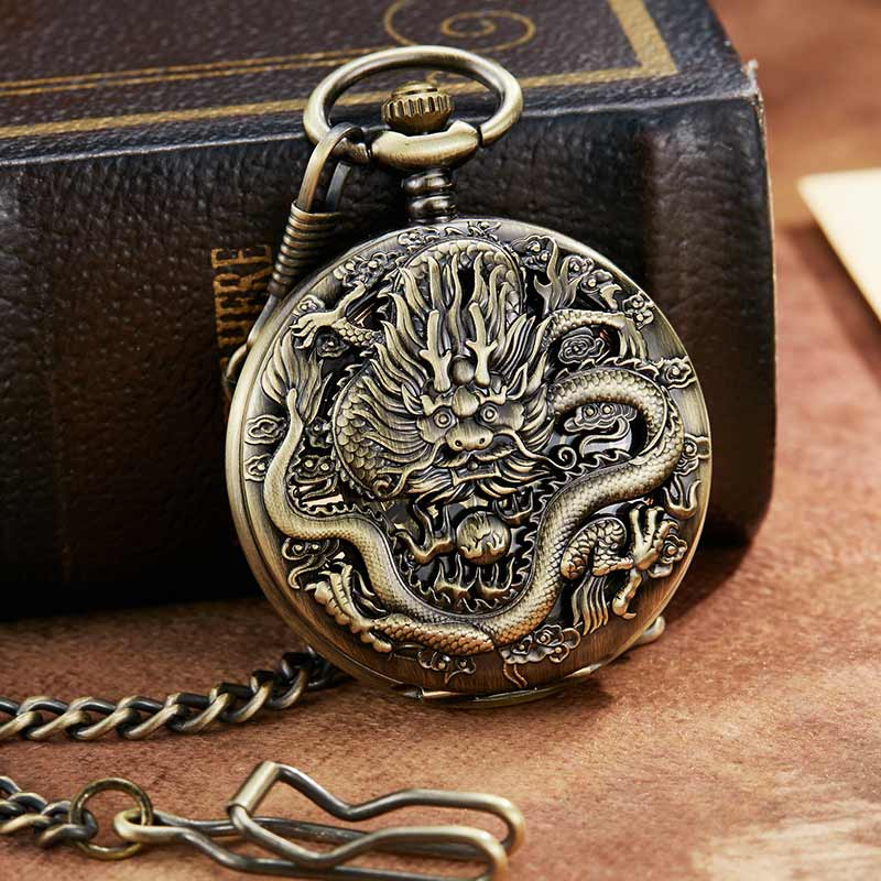 Retro Bronze Dragon Mechanical Pocket Watch With FOB Chain Unique Double Side Open Skeleton Hand wind mechanical Pocket Watch