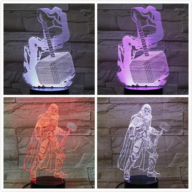 Marvel The Avengers super heroe Thor hammer Figure 3D Illusion Usb 3d led night light Multicolor RGB table lamp bedroom neon in LED Night Lights from Lights Lighting