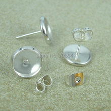 8mm 10mm 12mm Kaca Cameo Cabochon Putaran Basis Pengaturan Bezel Anting Posting Stud dengan Earnut Stoppers Backing DIY Temuan(China)