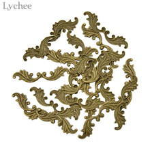 Lychee 20pcs Brass Leaf Shaped Stamping Scrapbooking Embellishments DI