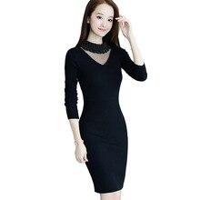 2018 модное Сетчатое лоскутное Платья-свитеры Для женщин Harajuku Бисер Облегающее вязаное платье дамы Повседневная обувь платье vestidos Femme