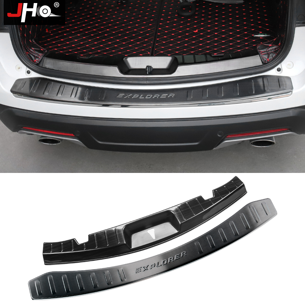JHO Steel Built in Rear Bumper Protector Cover Guard Sill Plate For Ford Explorer 2016 2019