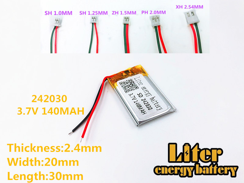 lithium polymer battery 242030 li-polymer battery 140mAh 3.7V 242030 MP3 MP4 GPS rechargeable battery