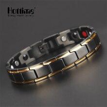 Hottime energía salud pulsera brazalete de los hombres de moda de lujo bio pulseras magnéticas de acero inoxidable 316l negro y chapado en oro de joyería