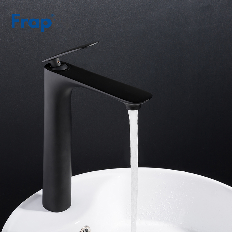 Frap Tall Black tap Basin Sink Mixer Tap deck mounted Cold And Hot Single Handle Wash Bathroom useful Waterfall Faucet Y10043 недорго, оригинальная цена