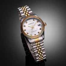 Top Brand TORBOLLO Golden Lover Watch Quartz Date Crystal Waterproof Dress Watch