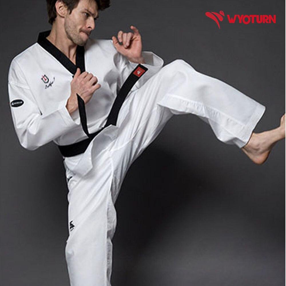 US $32.0 |Neue High end erwachsene taekwon do anzug atmungsaktive baumwolle Karate TKD anzüge männer frauen ITF WTF Taekwondo uniformen multicolor