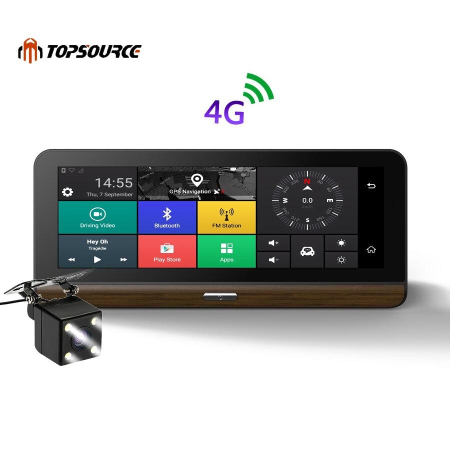 TOPSOURCE 3G/4G DVR Câmera Do Carro Suportado mais 7.8 polegada Android 5.1 GPS BT Traço Cam Secretário gravador de vídeo com duas câmeras