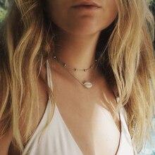 цены на Bohemian Metal Shell Choker Necklace Beads Gold Chain Multi Layer Necklaces For Women Summer Beach Fashion Jewelry Dropshipping  в интернет-магазинах