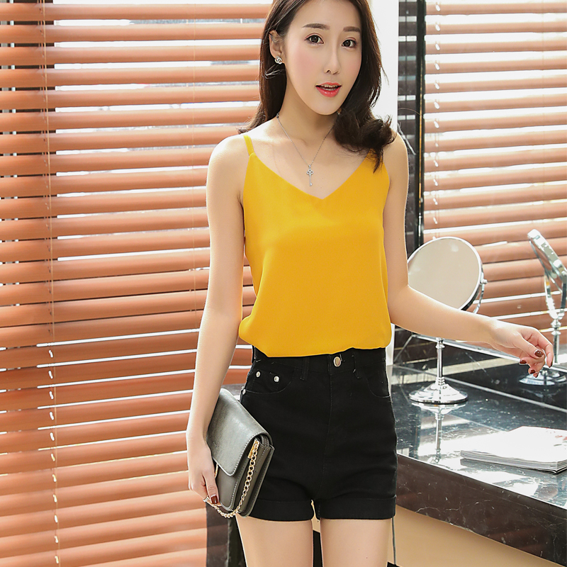 Fashion Women Brand Summer Sexy Low-cut   Tanks     Top   sleeveless V-neck Chiffon blouse Plus Size XXL Candy colors Camisole