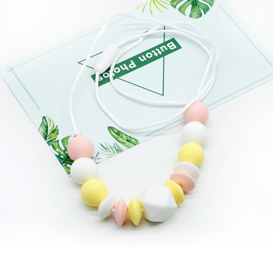 Silicone Chewable Teething Beads Bracelet Teether Baby Nursing Jewelry 3 Colors
