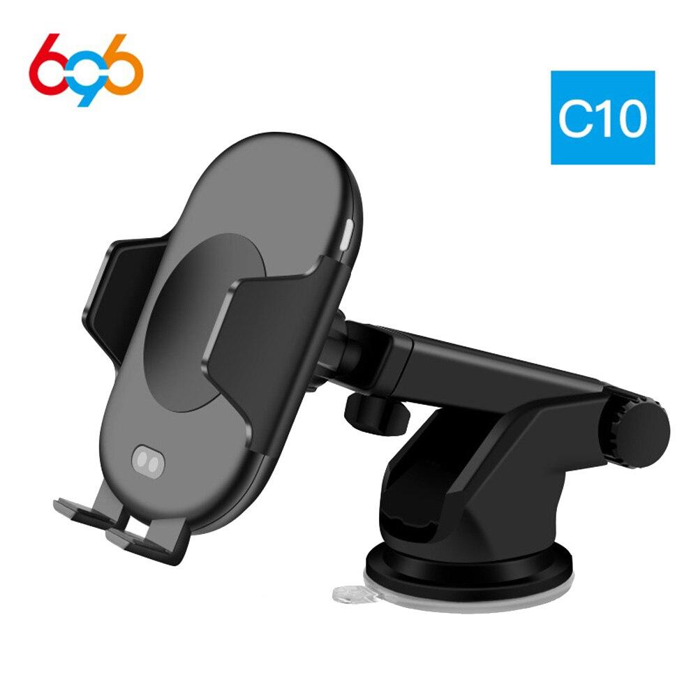696 C10 Drahtlose Ladegerät Moblie Telefon QI Schnelle Auto für iPhone X 8 Plus Drahtlose Aufladen Pad Auto Halter für samsung Galaxy S9 S8