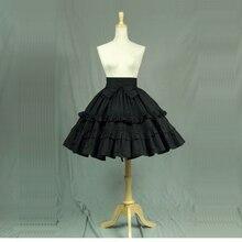 באיכות גבוהה שחור כותנה לוליטה גותי חצאיות עם שכבות ראפלס קיץ אונליין עוזרת תיאטרון תלבושות מותאם אישית עבור 2018