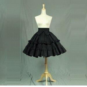 Image 1 - Черные хлопковые готические юбки Лолиты высокого качества с многослойными оборками, летние трапециевидные карнавальные костюмы для Девы, 2018
