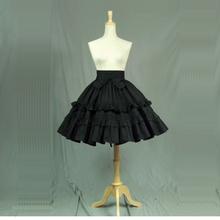 High Quality Black Cotton Lolita Gothic Skirts with Layered Ruffles Summer A line Maid Theater Costumes Customized For 2018