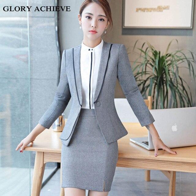 f2e68e4855e Plus Size S-4XL Brand Two Piece Set Office Uniform Designs Women Elegant  Fashion Skirt Formal Suits Ladies Business Outfits Suit