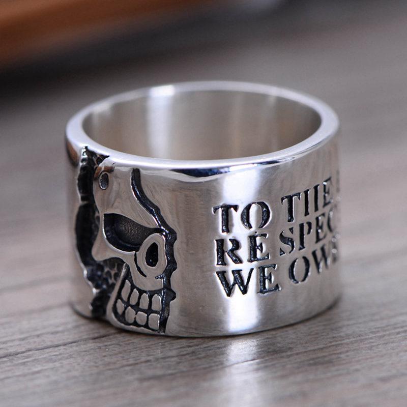Одноцветное Серебро 925 Череп Face Wide Band кольца для Для мужчин простые Стильные 925 серебро Для мужчин s ювелирные изделия Готический тайский сер...