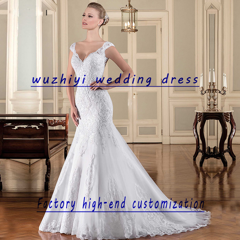 Wuzhiyi wedding robe de mariage Cap Sleeves Appliques Lace wedding dress 2018 vestido de noiva sleeveless