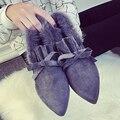 Лучшие Продажи Британский женская Зимняя Мода Женщины Теплый Снег Bottine бантом Стая Сапоги Леди Обувь Botas Скольжения На Лодыжки Пинетки G443