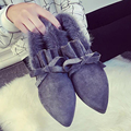 Top Venta de Las Mujeres Británicas de Moda Femenina de Invierno Cálido Nieve Bottine Bowknot Flock Zapatos Cargadores de La Señora Botas Resbalón de Tobillo Botines G443
