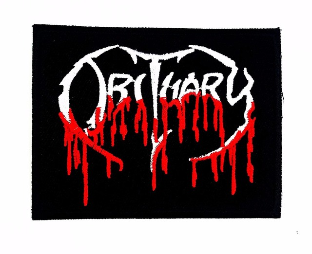 obituary rock band sew iron on patch american death metal woven logo rh aliexpress com unreadable death metal band logos best death metal band logos