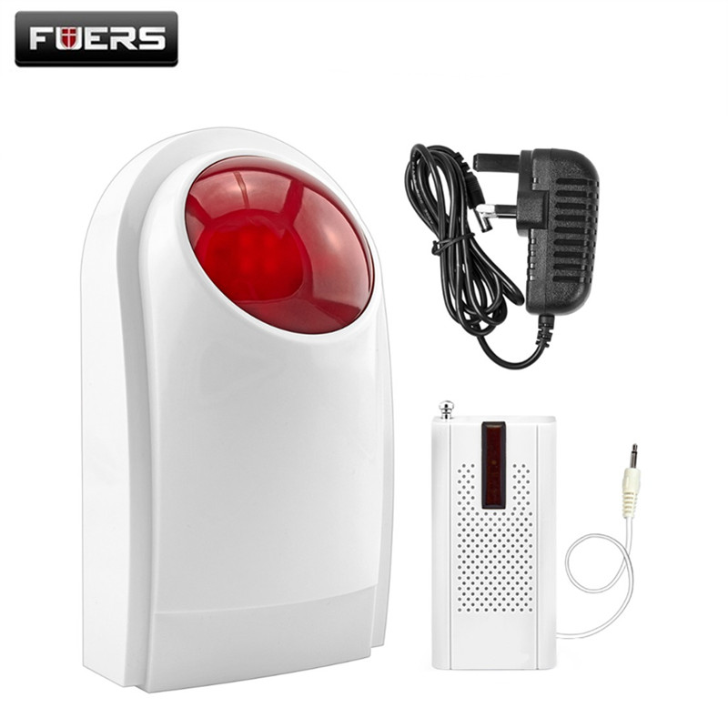 FUERS Wireless J008 Indoor Flash Siren 433Mhz Built-In Backup Battery With F8 Transmitter Work For Home Security Alarm System