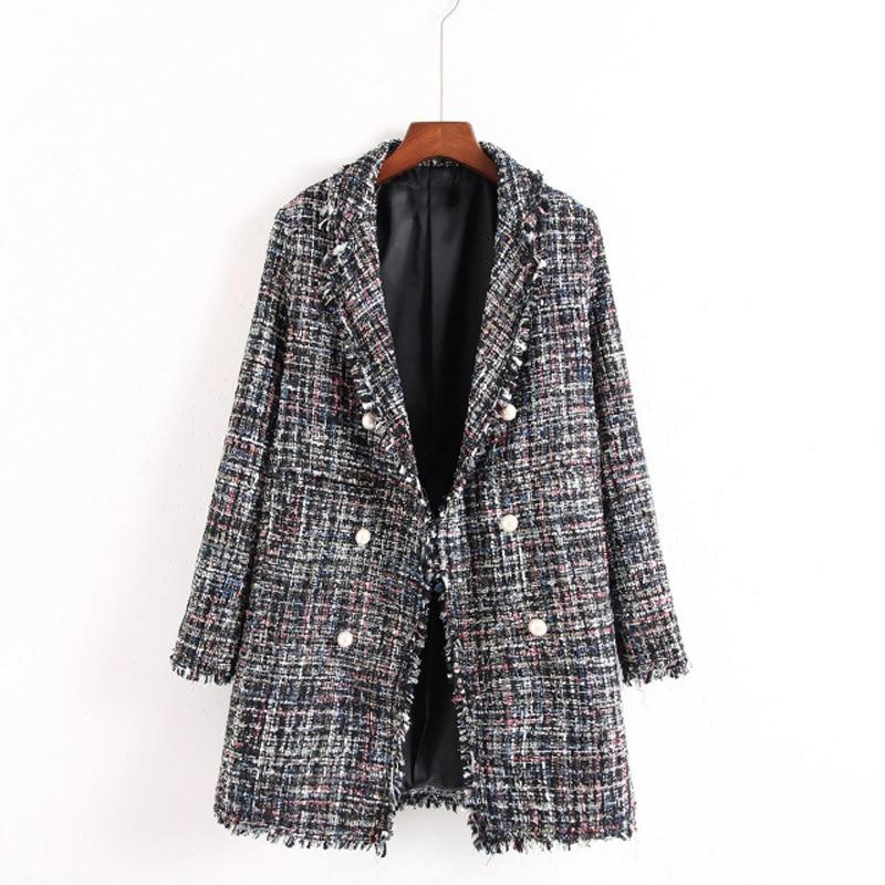 Gray Breasted Gland Nouveau Bas Casual Tournent Tweed Midi L Vestes S 2019 Manteau Longueur Veste Double Femmes Le Vers Linen Manteaux 4gnwq