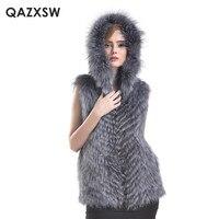 Plus Size S 6XL 2017 New Women Real Fur Vest Jacket Genuine Silver Fox Fur Vest Hooded Fox fur Vest Jackets LH342