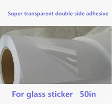 50in wide large format super transparent PET doulbe side adhesive film roll