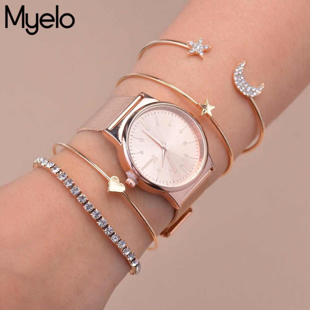 Myelo Fashion Trendy Rose Gold Silver Star Moon Heart