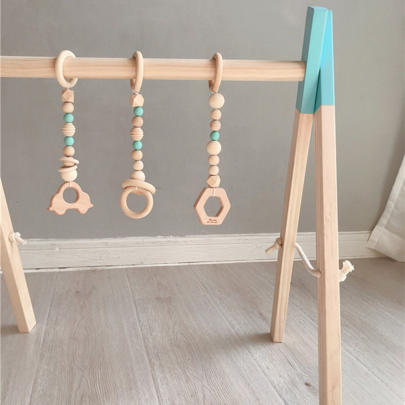 Nordic wystrój pokoju dziecięcego l drewna koralik Garland namiot łóżko mata Baby Shower trznadel Ornament dla dzieci pokój dziecięcy wiszące na ścianie wystrój 3 sztuk
