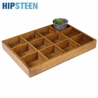 12 Slots Wooden Drawer Organizer Flatware Tray Planting Storage Box Pen Pencil Holder Case Container