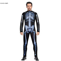 Halloween Skeleton Costumes For Men Hell Devil Demon Scary Cosplays Carnival Purim parade Masquerade Nightclub bar party dress