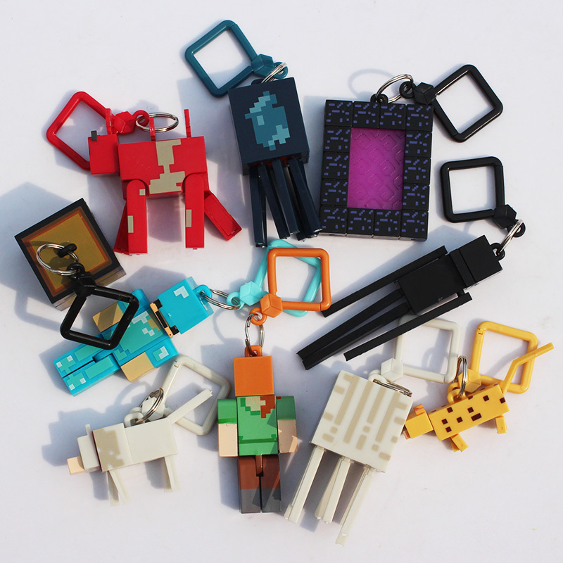 Hot ! Toys 10pcs/lot Generation 1/2/3 juguetes PVC Minecraft Toys Micro World Action Figure Set Minecraft Keychain Anime Figures