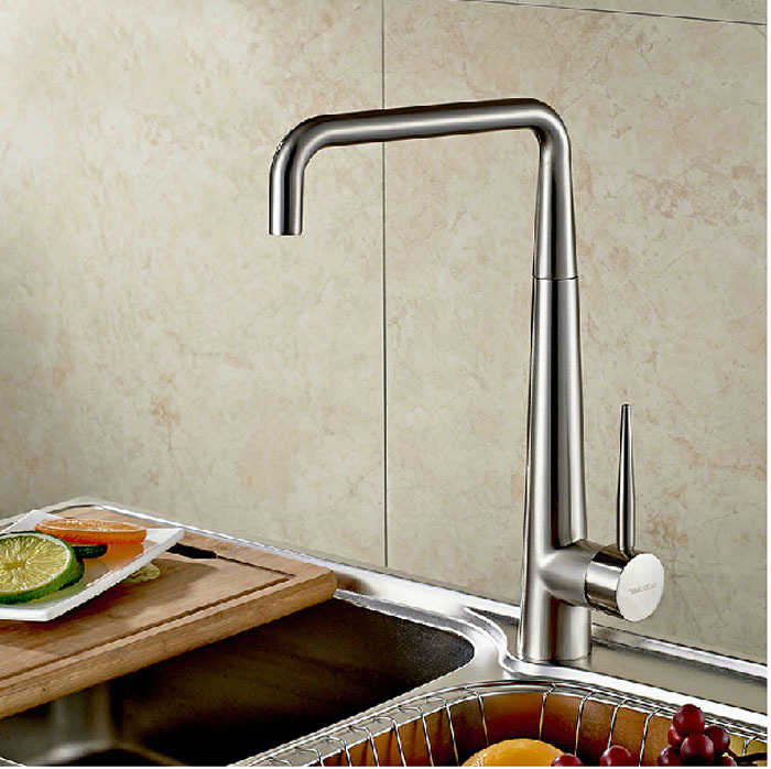 Deck Mount Rotation Kitchen Mixer Faucet Single Handle Hot and Cold Water Kitchen Taps Brushed Nickel