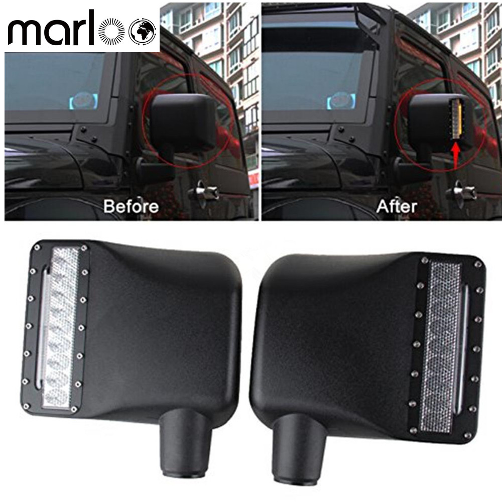 Marloo For Jeep Wrangler Rear View Side Mirrors Housing Lights with LED Amber Turn Signal w/DRL Sidelight For 07 - 16 JK JKU 4pcs black led front fender flares turn signal light car led side marker lamp for jeep wrangler jk 2007 2015 amber accessories