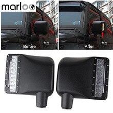 Wrangler için yan aynalar konut kapak ile LED DRL Amber dönüş sinyal ışıkları Jeep Wrangler JK 07 18 Rubicon spor