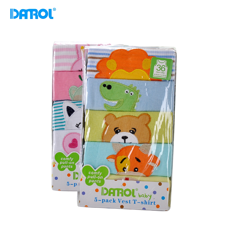 6M-24M 5Pcs/Lot Cotton Summer Baby Clothes O Neck Sleeveless Newborn Boy Girl Top Tees T-Shirt Cute Carton Infant Vest DR0144
