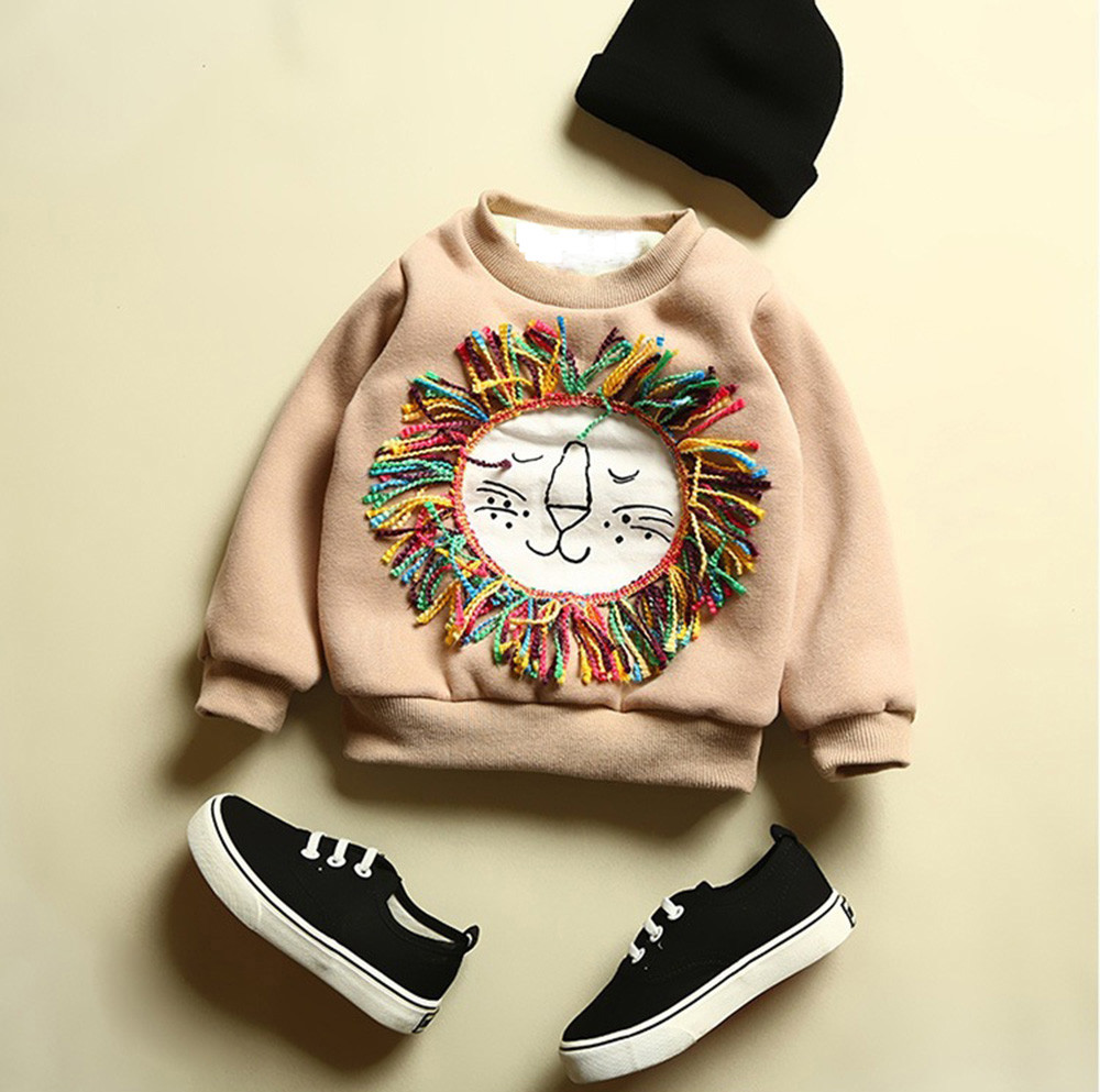 6M-3T winter clothes for Kids Baby Boy Sweatshirts Cartoon Lion Long Sleeve Tops Warm Blouse pullover New Year costumes girls