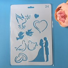 1Pcs 26Cm Bruidspaar Dove Hart Diy Craft Gelaagdheid Stencils Schilderij Scrapbooking Stempelen Embossing Album Card Template(China)
