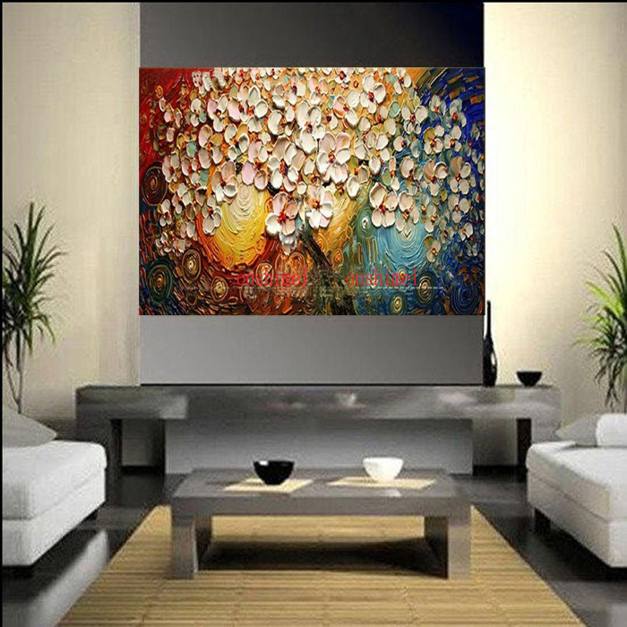 Free Shipping Handpainted Canvas Wall Art Abstract Painting Modern Acrylic Flowers Palette Knife Oil Home Decoration In Calligraphy From
