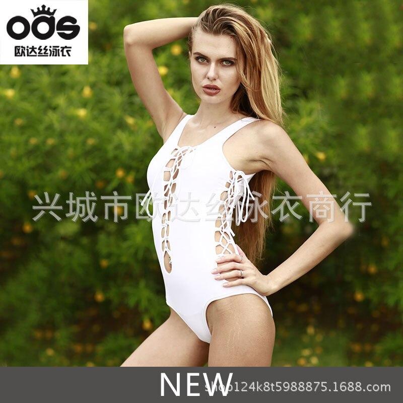 Sexy One Piece Swim Suits 2018 Summer Solid Deep V Bandage Swimwear Bodysuits Backless Beach Wear Bathing Suits Monokini