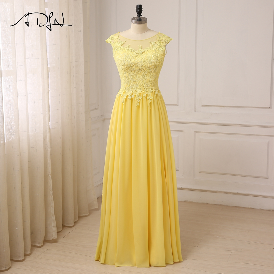 ADLN Yellow A line Bridesmaid Dresses Scoop Neck Floor Length Applique Chiffon Wedding Party Dress Bridesmaid Gowns