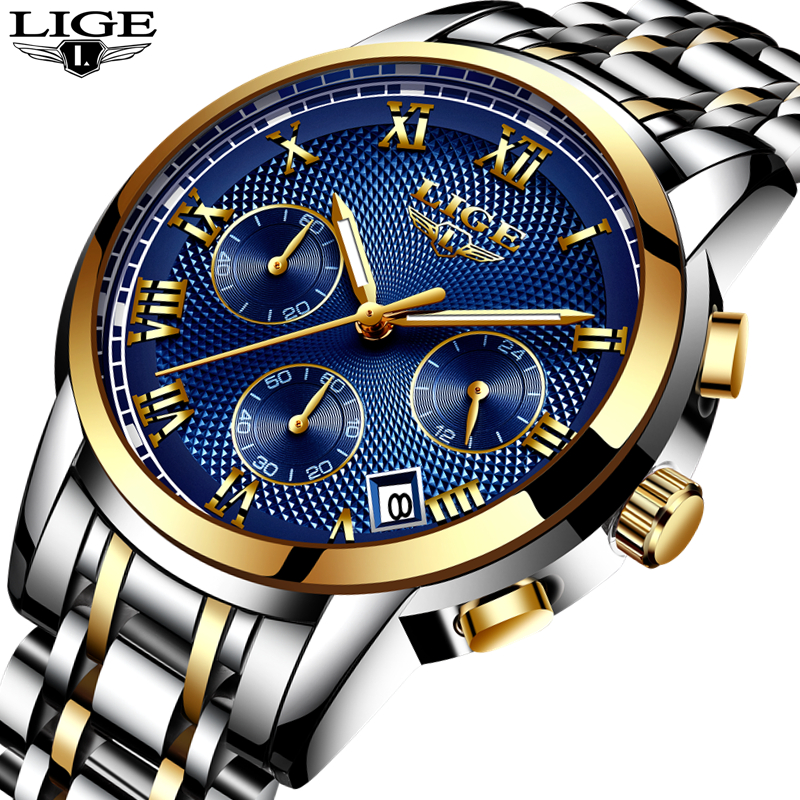 LIGE Luxury Brand Watches Men Fashion Sport Military Quartz Watch Men Full Steel Business Waterproof Clock Man Relogio Masculino new fashion mens watches gold full steel male wristwatches sport waterproof quartz watch men military hour man relogio masculino