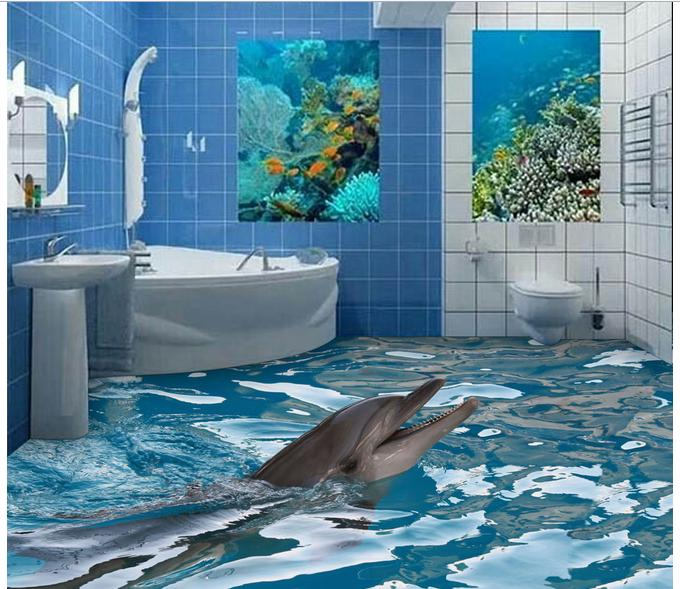 Customized 3d photo wallpaper 3d floor painting wallpaper 3 d bathroom floor tile map 3d living room decoration free shipping 3d surf sea water beach shell sea star living room bathroom office decoration floor wallpaper mural