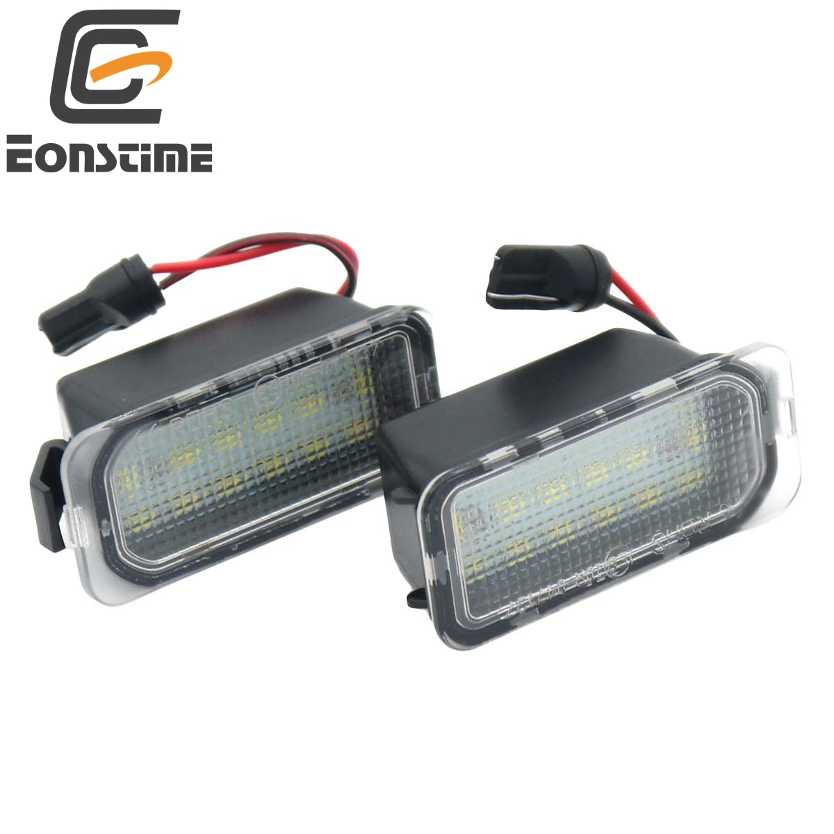 Eonstime 2Pcs 18SMD LED License Plate Number Light Lamp Error Free For Ford Fiesta JA8 Focus DA3 Focus DYB S-max C-max Mondeo 2x 18 smd led license plate light module for ford focus da3 dyb fiesta ja8 mondeo mk4 c max s max kuga galaxy