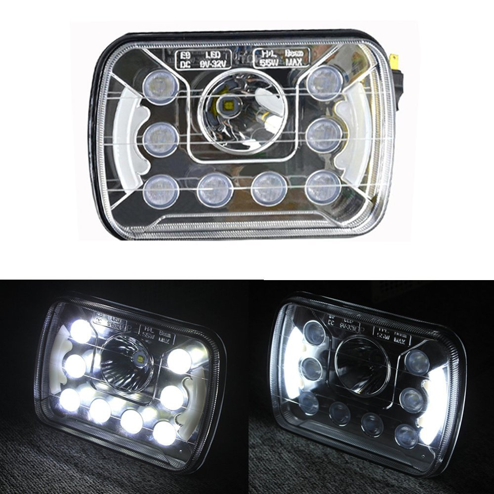 1pair 7inch 55w led headlight for truck offroad with hi lo beam replacement kit for