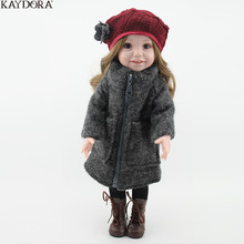 KAYDORA Fashion Girl Doll 18 inch Winter Coat Christmas Gift Red Hat Warm Baby Reborn Whole Silicone Body Toys For Girls