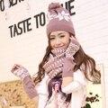 Mujeres invierno bufanda sombrero y guante conjunto femenino caliente 2015 new moda de tres piezas de guantes sin dedos de regalo de navidad niñas bufanda de esquí