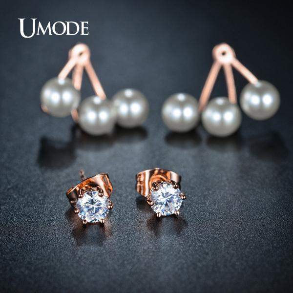 Double Side Synthetic Pearl Stud Earrings